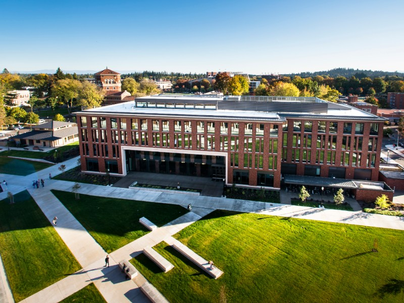Overhead shot of LInK building on Corvallis campus